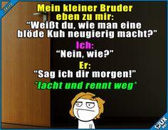Typisch kleine Brüder ^^' #Geschwister #Geschwisterliebe #lustig #fies #gemein #Jodel #Sprüche #lustigeSprüche #reingelegt #Humor #peinlich