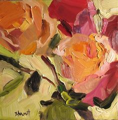 New Painting...Day One of 30 paintings in 30 days....'Peach Rose' by Linda Hunt, abstract realism, 6X6, oil on board, contemporary, painting