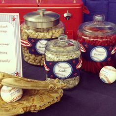 on concessions table. Softball Party, Baseball Birthday Party, Sports Party, Grad Parties, 1st Birthday Parties, Boy Birthday, Birthday Ideas, Dodgers Party, Welcome Home Parties