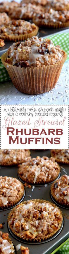 Glazed Streusel Rhubarb Muffins - Lord Byron's Kitchen