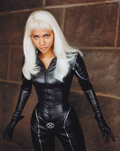 X-Men, 2000Costume design: Louise Mingenbach  black leatherette jumpsuit with front zip fastening and silver cape - worn by Halle Berry in the role of Storm/Ororo Munroe