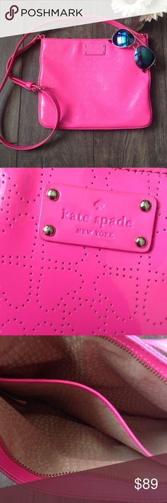 Kate Spade Darby crossbody bag in hot pink  EUC (only signs of use are a couple faint pen marks on interior), neon pink with perforated hearts, adjustable shoulder strap, dividing pocket on the inside makes two compartments kate spade Bags Crossbody Bags