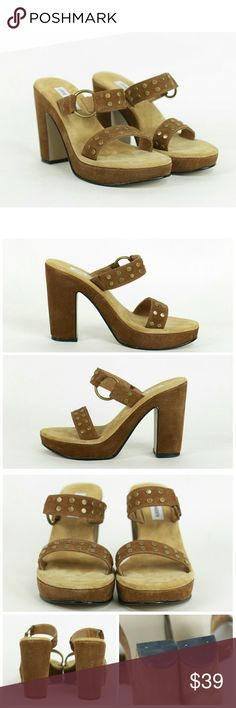 """Steve Madden studded suede heeled sandals Size 8B.  Steve Madden studded suede heeled sandals in brown. Suede uppers. Balance manmade. Block heels measure approx 4.5"""" in the back. Slight wear on soles. Excellent condition above soles. Very cute with a boho festival feel! Steve Madden Shoes Sandals"""