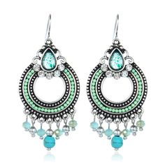 BOHEMIAN TURQUOISE SILVER*GOLD EARRINGS *2 COLORS