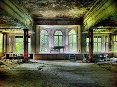 Piano in abandoned hospital, Poland.