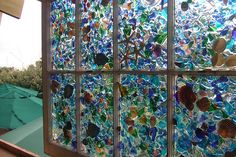 sea glass and sea shell window art