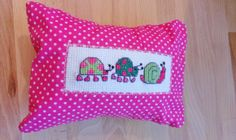 Dreampillow with a lovely snail and ladybugs cross stitch design