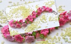 Hey, I found this really awesome Etsy listing at https://www.etsy.com/listing/260876452/pink-bracelet-flower-bracelet-wedding