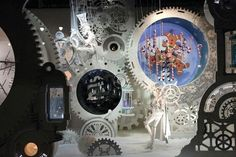 I like all of the different levels of gears for this.  Also, how there is a cutout with the gingerbread men in the middle of the giant gear.  Could be cool to do a large logo or helmet on our version.  This was a Steampunk Event Macy's Xmas window.