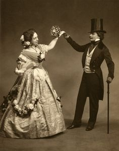 Vicomte de Périgny and Mrs. Peter Cooper Hewitt in 1860's period costume, Hewitt Costume Ball, 1908; photograph by Davis & Eickenmeyer.  NYHS Image #30018.