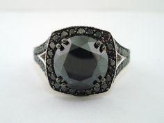 Black Diamonds Ring Vintage Style 14K White Gold Pave