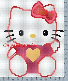 The Best Cross Stitch Patterns of Hello Kitty – Part One – Embroidery and Arts Creatives Beaded Cross Stitch, Cross Stitch Baby, Cross Stitch Charts, Cross Stitch Designs, Cross Stitch Embroidery, Cross Stitch Patterns, Hello Kitty Crafts, Chat Hello Kitty, Graph Crochet
