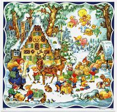 Adventskalender Weihnachtsmann mit Schlitten Silberglimmer Kurt Brandes Reprint | eBay