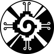 """there are no known representations of """"Hunab Ku"""" that have been documented for the ancient Maya. But the design is a nice representation of duality. Aztec Symbols, Mayan Symbols, Sacred Symbols, Native American Religion, American Symbols, Mayan Tattoos, Aztec Culture, Aztec Art, Aztec Designs"""