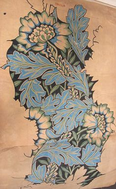 Anemone, a furniture fabric design by Morris & Co, 1876