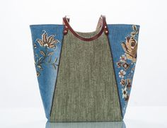 upcycled Denim Market Tote from embellished jeans von karenlukacs