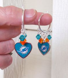 Miami Dolphins Earrings, NFL Dolphins Orange and Teal Crystal Heart Hoop Football Earrings, Pro Football Bling, Accessories, Gifts by scbeachbling on Etsy