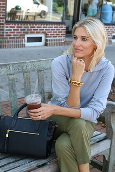 Pair a casual sweatshirt with chinos, loafers and a classy tote for a perfect fall look that is cozy, chic yet sophisticated. Click through for details on this look and to shop the look yourself!