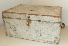 Primitive style wooden Tool Box with white by honeyblossomstudio