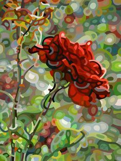 Contemporary abstract landscape painting art by Mandy Budan - Last Rose of Summer