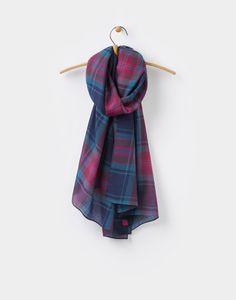 Julianne French Navy Check Scarf , Size One Size   Joules UK