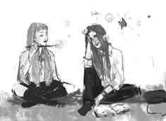 blvnk Luna transforming bubbles into butterflies while they are studying for their OWL's exams. Ginny seems more interested in the bubbles than in a boring text. A very random and quite relaxing afternoon during their 5th year. [instagram @potterbyblvnk]