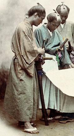 Japan. Samurai. Hand-colored photo, about 1860's