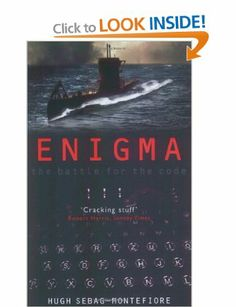 Enigma: The Battle For The Code Cassell Military Paperbacks: Amazon.co.uk: Hugh Sebag-Montefiore: Books [ quite a dark looking cover - mostly darker colours, apart form the red, and light at the top - The light at the top draws your eye into the boat - at first I did not recognise that at the bottom it was typewriter keys]