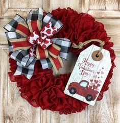 Excited to share this item from my shop: Red Burlap Valentines Wreath with truck tag, Happy Valentines Day wreath, Red truck wreath valentines day wreath dollar tree Your place to buy and sell all things handmade Diy Valentines Day Wreath, Valentines Day Decorations, Valentine Day Crafts, Happy Valentines Day, Holiday Crafts, Valentine Ideas, Holiday Wreaths, Holiday Fun, Holiday Ideas