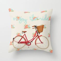 Enjoy the Ride vintage pillow floral pillow retro by PeggyandChuck, $38.00
