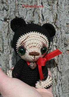 OOAK Mini Crochet Thread Artist Black Bear CuB for Kaye Wiggs MSD SD BJD ~DeB&F