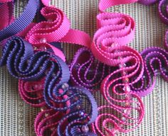 Ribbon necklace in violet with glass beads by CarolynWaweru