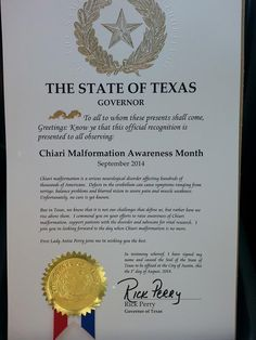 September is Chiari Awareness Month in Texas!  Just one more reason Texas is AWESOME!