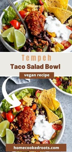 This Vegan Taco Salad is inspired by the Southwestern Tex-Mex flavors in a Santa Fe Salad. Crispy romaine lettuce, black beans, cherry tomatoes, corn, crushed tortilla chips, and tempeh taco meat all drizzled with the best creamy, vegan taco salad dressing. Try this recipe for easy vegan meal prep or quick weeknight dinners! Vegan Mushroom Soup, Vegan Potato Soup, Vegan Side Dishes, Food Dishes, Tofu Recipes, Vegan Recipes Easy, Vegan Pesto Pasta, Vegan Stuffed Peppers, Taco Salad Bowls