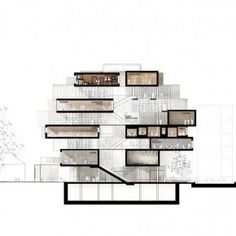 Section showing the variety of spaces and the contrast between the enclosed spaces of the boxes and the large open atrium