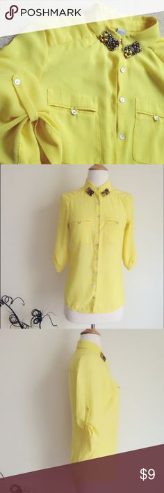 """H&M lemon yellow chiffon shirt 100% poly, elegant and lightweight. Button-down, roll-up sleeves, two chest pockets, size US 2/ 155 76A. Chest 16"""", length 25"""". I sew the decorations on the collar myself, if you don't like them, please let me know after purchasing, I'll remove them for you :) I bought it a couple years ago but never worn it. H&M Tops Button Down Shirts"""