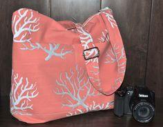 Camera Bag SLR, Ocean Coral / Coral Print / Dslr Camera Gear, womens purse, travel bag, Padded  Insert / cross body messenger Darby Mack
