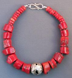 Big coral with focal bead  Jewelry by Mirinda Kossoff