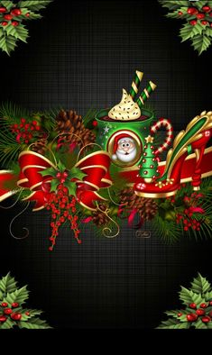 By Artist L. - Wallpaper… By Artist L… - Christmas Printables, Christmas Themes, Christmas Decorations, Noel Christmas, Winter Christmas, Cute Christmas Backgrounds, Beautiful Christmas Scenes, Holiday Wallpaper, Christmas Drawing