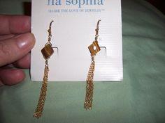 Lia Sophia Tiger eye tassel pierced earrings #liasophia