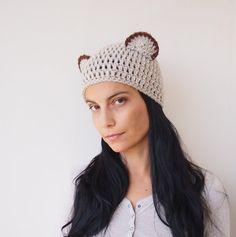 PDF crochet pattern bear ears hat beanie animal by Accessorise