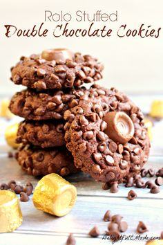 A chocolate lovers dream! Fudgy, chewy chocolate cookies rolled in mini chocolate chips and stuffed with a Rolo Candy! AMAZING!