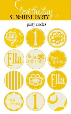 Sunshine Party Circles (PRINTABLE)