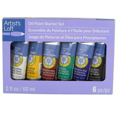 Whether you're a novice or simply haven't picked up a paintbrush in some time, get a proper introduction to painting with this quality oil paint set. Ideal for mastering traditional techniques like bl Oil Paint Set, Mediums Of Art, Artist Loft, Titanium White, Starter Set, Color Blending, Ivoire, Paint Brushes, Artsy