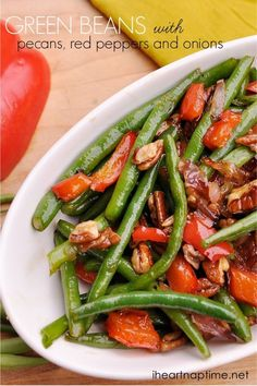 Green Beans with Pecans, Red Peppers and Onions ...perfect side dish for fall! #recipes