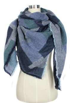 Plaid Warm Winter Scarf - Blue