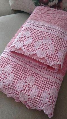 Hand crocheted border fillet crochet lace trim linear or Filet Crochet, Crochet Blanket Edging, Crochet Edging Patterns, Crochet Lace Edging, Crochet Motifs, Crochet Doilies, Crochet Stitches, Doilies Crafts, Crochet Towel