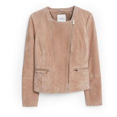 Mango Zipped suede jacket (1.285 ARS) ❤ liked on Polyvore featuring outerwear, jackets, beige, women, mango jacket, suede jacket, zip jacket, beige jacket and asymmetrical zip jacket