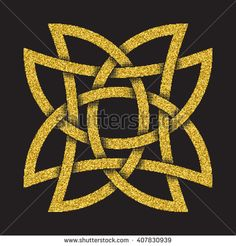#Golden #glittering #logo #symbol in Celtic style on black background. Tribal symbol in eight pointed star form. Gold stamp for jewelry design.