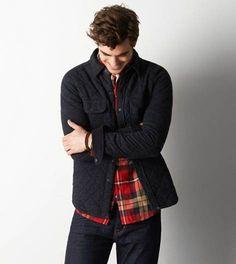 Bold Black AEO Vintage Quilted Fleece Jacket
